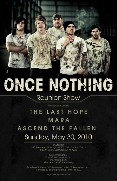 Once Nothing Reunion Show – May 30th Altar Bar